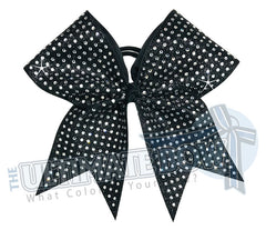 Extreme Rhinestone Glitter Cheer Bow | Black Full Glitter | Covered in Rhinestones | Competition Cheer Bow | Blinged Out Cheer Bow