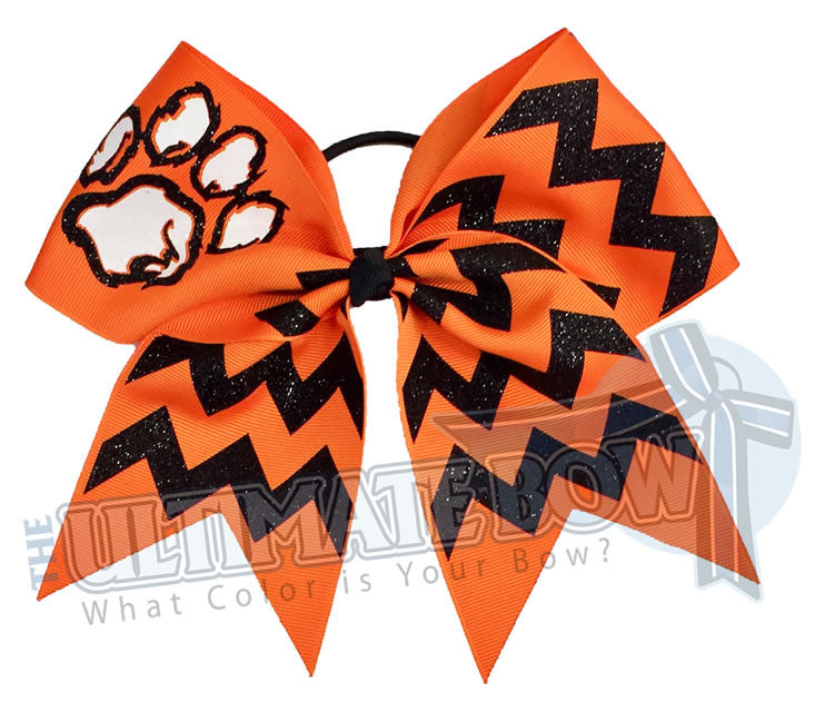 paw-print-fierce-glitter-chevron cheer-bow-orange-black-glitter-softball-sparkle