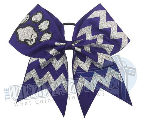 paw-print-fierce-glitter-chevron cheer-bow-purple-black-silver-glitter-softball-sparkle