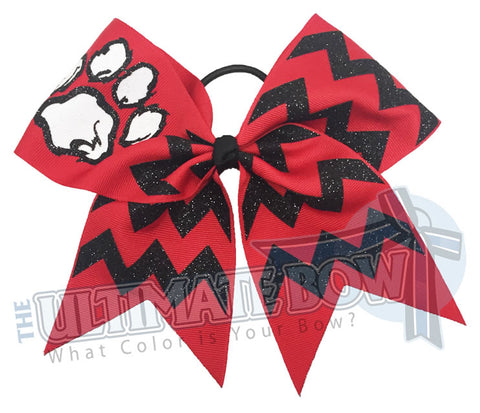 Fierce Glitter Chevron Paw Print | Cheer Bow | Softball Bow | Glitter Bow