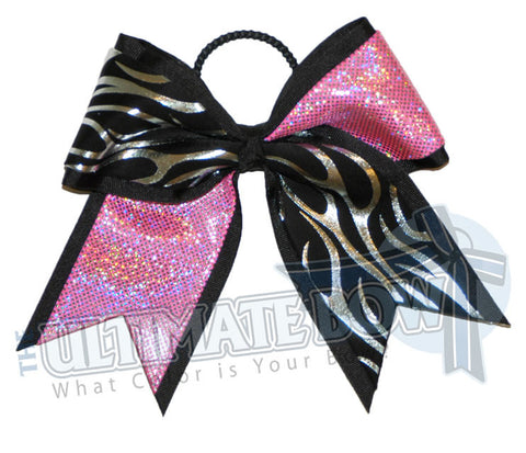 Fire-ice-cheer-bow-silver-flames-black-hot-pink