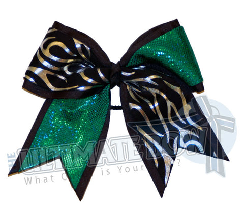 Fire-ice-cheer-bow-silver-flames-black-kelly-green