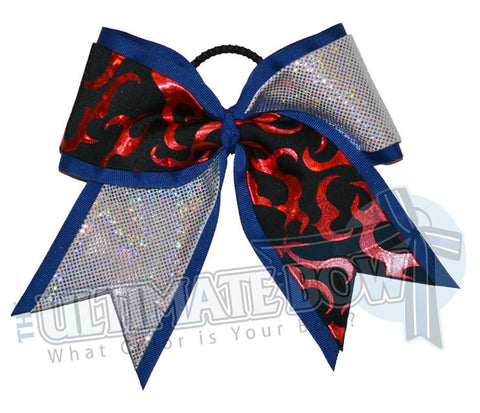 Fire-ice-cheer-bow-red-holographic-flames-royal-blue-silver