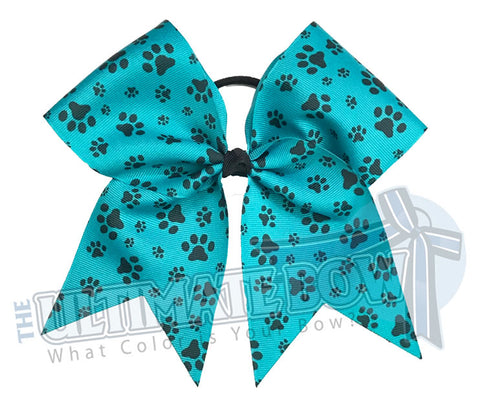 sublimated  paw print cheer bow | Paw Print cheer bow | teal and black cheer bow | softball | Sports hair bow