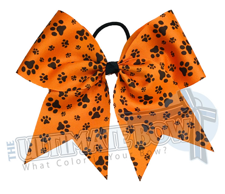 sublimated  paw print cheer bow | Paw Print cheer bow | orange and black cheer bow | softball | Sports hair bow