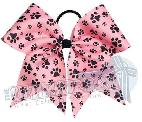 sublimated  paw print cheer bow | Paw Print cheer bow | pink and black cheer bow | softball | Sports hair bow