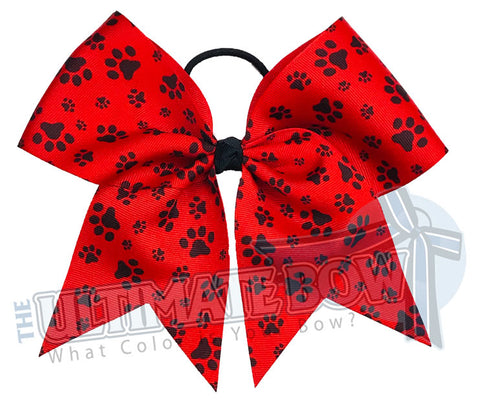 sublimated  paw print cheer bow | Paw Print cheer bow | red and black cheer bow | softball | Sports hair bow