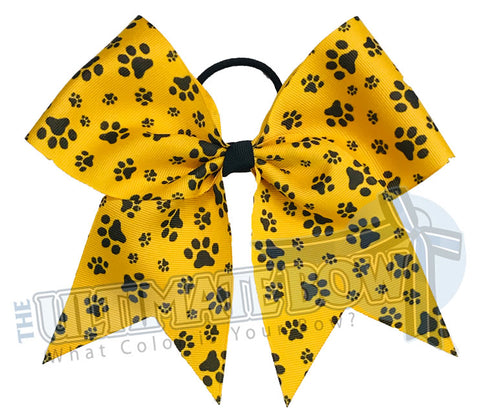 sublimated  paw print cheer bow | Paw Print cheer bow | yellow gold and black cheer bow | softball | Sports hair bow