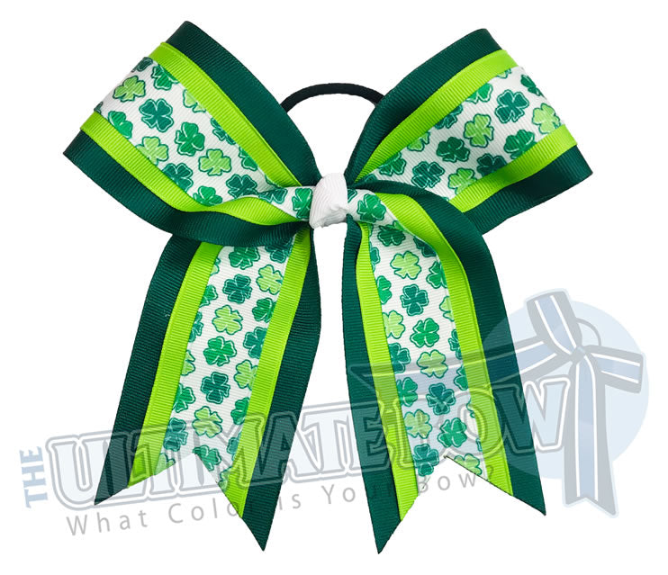 Four Leaf Clover Cheer Bow | Forest Green Lypple Shamrock Cheer Bow | St. Patrick's Day Hair Bow