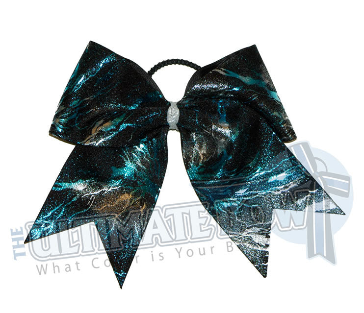Turquoise-silver-black-superior-explosion-cheer-bow