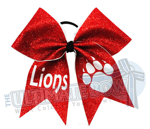 Full Glitter Paw Print Cheer Bow | Cheerleading Hair Bow