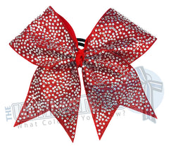 Full Glitter Rhinestone Penthouse Cheer Bow | Red Full Glitter | Covered in Rhinestones | Competition Cheer Bow | Blinged Out Cheer Bow