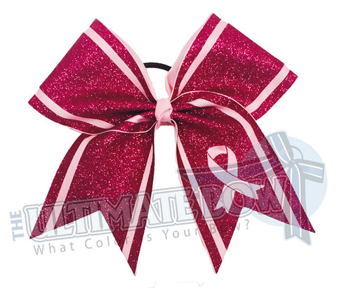 Full Glitter Trim - Breast Cancer Awareness Cheer Bow
