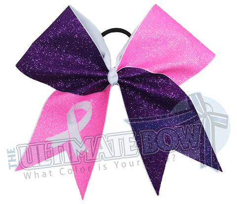 Full Glitter Breast Cancer Awareness Bow