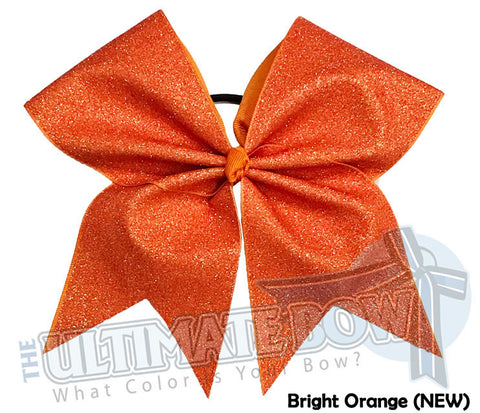 Full On Glitter Cheer Bow | Bright Orange Cheer Bow | Orange Glitter