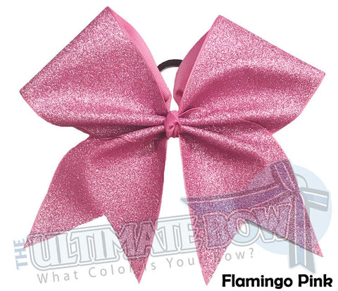 Full On Glitter Cheer Bow | Flamingo Pink Cheer Bow | Breast Cancer Pink Cheer Bow | Pink Glitter