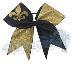 full glitter cheer bow - fleur de lis cheer bow - mardi gras bow - cheerleading hair bow - Saints cheer bow - New Oreans hair bow