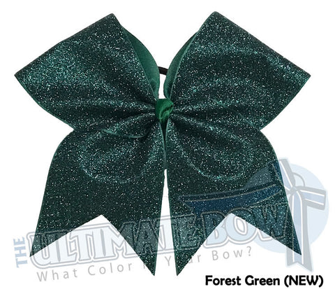 Full On Glitter Cheer Bow | Dark Green Cheer Bow | Glitter Cheer Bow | Forest Green Glitter