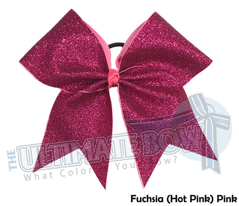 Full On Glitter Cheer Bow | Fuchsia Hot Pink Cheer Bow | Breast Cancer Pink Cheer Bow | Hot Pink Glitter