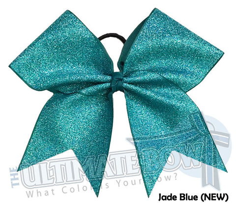 Full On Glitter Cheer Bow | Teal Blue Cheer Bow  | Jade Blue Glitter | Mermaid Blue Cheer Bow