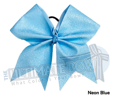 Full On Glitter Cheer Bow | Neon Blue Cheer Bow | Highlighter Blue Glitter