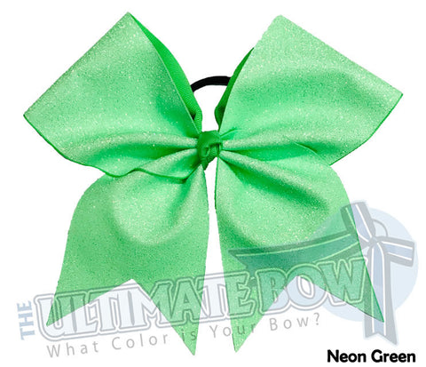 Full On Glitter Cheer Bow | Neon Green Cheer Bow | Green Glitter
