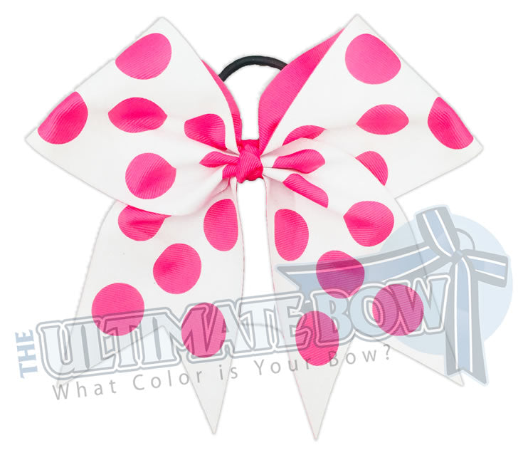 Full-glitter-polka-dots-cheer-bow-hot-pink-white-glitter-softball-sparkle-minnie-disney