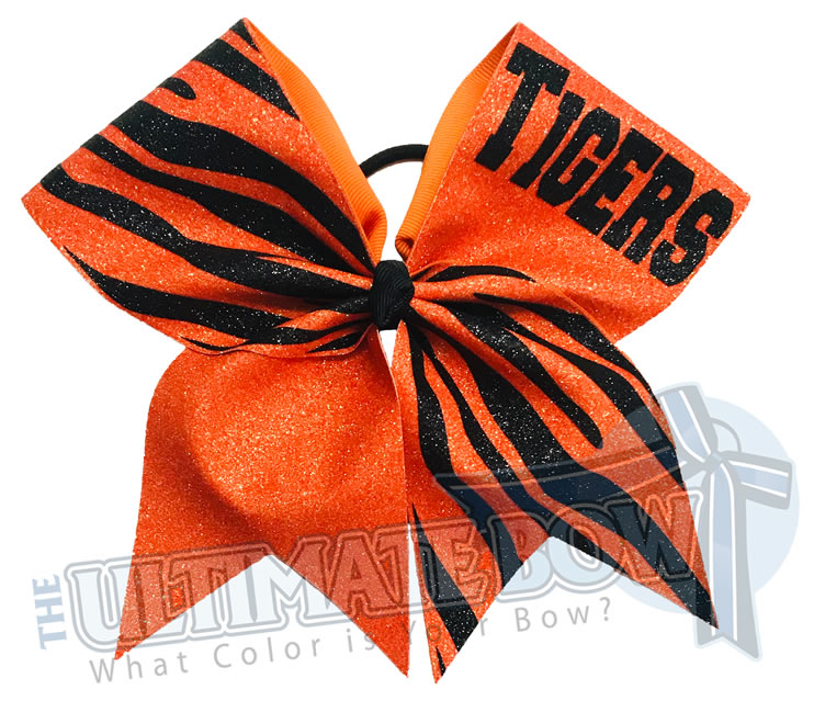 Full Glitter Tiger Stripes Cheer Bow | Orange and Black Tiger Stripes  | Full Glitter Tiger Cheer Bow | Tiger Football Cheer Bow