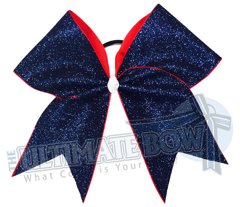 Full on Glitter Cheer Bow  | Full On Glitter Cheer Bow | Navy Red Glitter Cheer Bow | Red White and Blue Cheer Bow | Navy Glitter | Navy Sparkle | Softball Glitter Cheer Bow