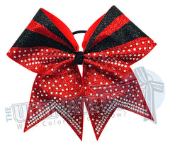 Full Out Glitter Rhinestones Cheer Bow | Red Cheer Bow | Black Cheer Bow | Rhinestones and Glitter Cheer Bow | Red and Black Cheer Bow