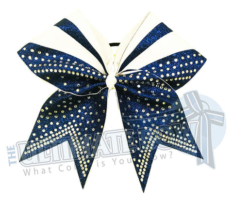 Full Out Glitter Rhinestones Cheer Bow | Navy Cheer Bow | White Cheer Bow