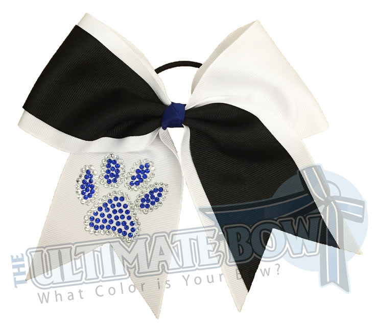 game-on-rhinestone-paw-print-grosgrain-ribbon-texas-sized-cheer-bow-softball-white-black-cobalt-rhinestones