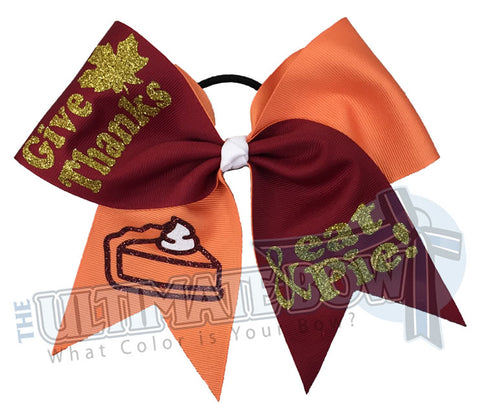 Give-Thanks-Eat-Pie | Thanksgiving Hair Bow | Happy Thanksgiving Cheer Bow | Thanksgiving Presents