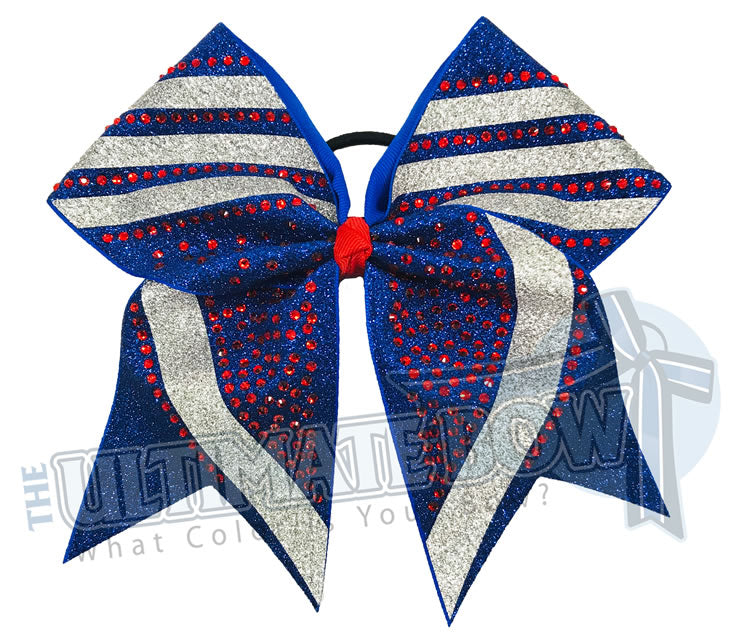 rhinestone-glitter-trending angles-Royal Blue glitter- Silver glitter -red rhinestones -cheer-bow-full-glitter-cheerleader hair bow