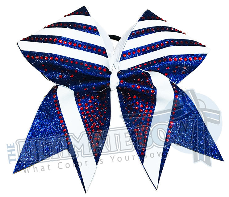 Red White and Blue Glitter Angles | Glitter and Rhinestone Cheer Bow | Glitter Angles Cheer Bows | Red Rhinestones | White Glitter | Royal Glitter