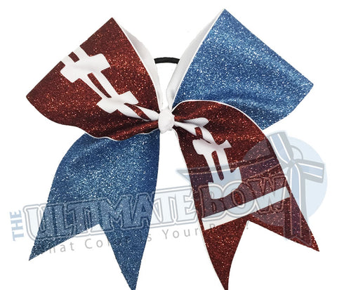 full-glitter-football-cheer-bow-football-bow | Columbia blue Glitter | High school Cheer