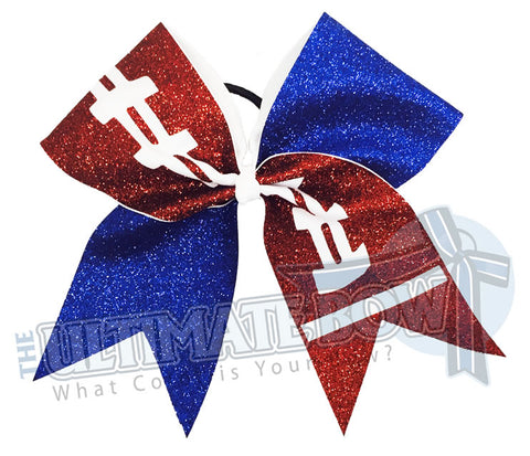 full-glitter-football-cheer-bow-football-bow | Royal Blue Glitter | High school Cheer
