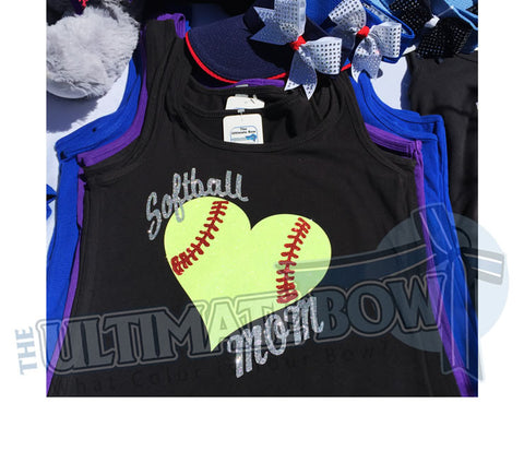 Softball Mom Glitter Tank Top | Softball Heart Glitter Tank Top | Softball Mom Tank Top | Black Softball Tank Top