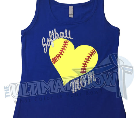 Glitter Heart Softball Mom Tank Top