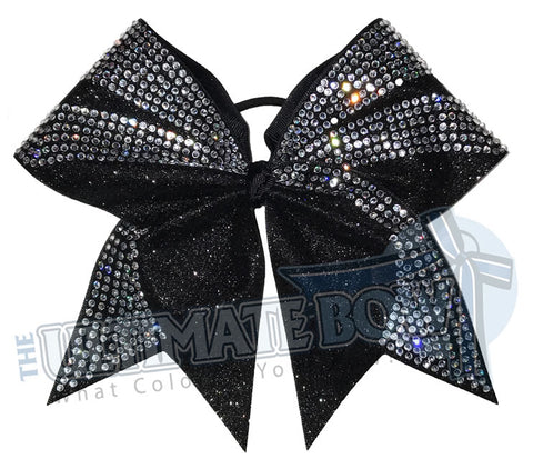 Glitter Rhinestone Ascent Cheer Bow | Black Glitter and Rhinestone Competition Cheer Bow | Black Cheer Bow