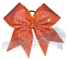 Glitter Rhinestone Illumination Cheer Bow | Bright Orange Cheer Bow | Glitter and Rhinestone Competition Cheer Bow