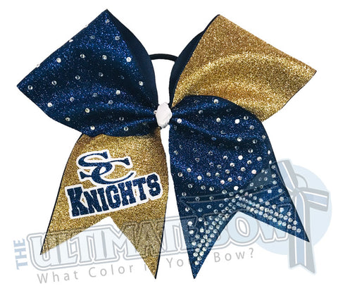 Glitter Squad Team Cheer Bows | Glitter and Rhinestone | Personalized Cheer Bows | Warriors Cheer Bow | Navy and Gold vCheer Bow