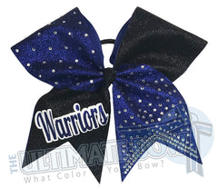 Glitter Squad Team Cheer Bows | Glitter and Rhinestone | Personalized Cheer Bows | Warriors Cheer Bow | Royal and Black Cheer Bow