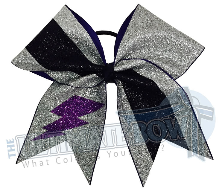 full-on-glitter-cheer-bow-purple-silver-black-glitter-softball-sparkle-lightning-storm-blast-half-split-two-tone