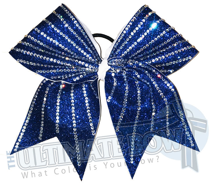 Glitter Sunrays Cheer Bow | Sunshine Cheer Bow | Striped Cheer Bow | Royal Blue Glitter and Rhinestones Cheer Bow