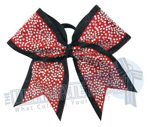 Glitter Trimmed Rhinestone Penthouse Cheer Bow | Rhinestone Glitter Cheerleading Bow | Competition Bow