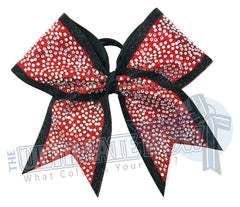 Glitter Trimmed Rhinestone Penthouse Cheer Bow | Red Black Glitter | Covered in Rhinestones | Competition Cheer Bow | Blinged Out Cheer Bow