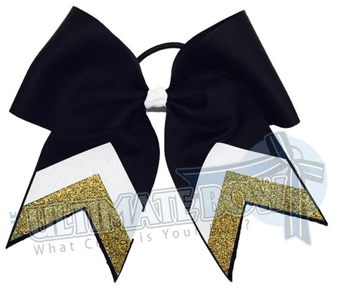 sideline-glitter-stripes-metallic-gold-black-white-cheer-bow-glitter-varsity-cheer-softball-school-recreational-cheer