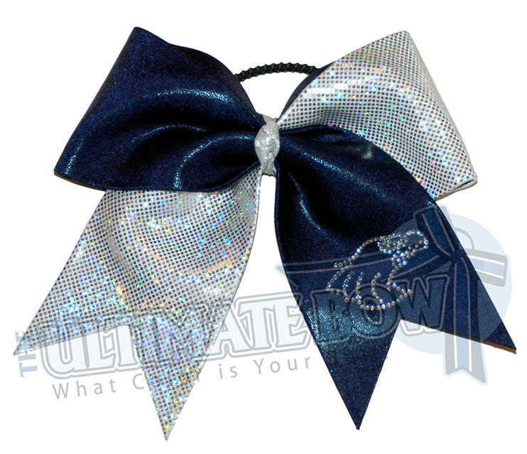 Go-Eagles-cheer-bow-rhinestone-mystic-diva-prima-donna-navy-silver