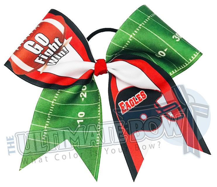 Go Fight Win Football Field Cheer Bow | Sublimated Cheer Bow | Team Cheer Bows | Eagles Cheer Bow